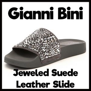 Gianni Bini Jeweled Suede Leather Slides